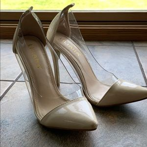 Nude stilettos with clear sides